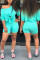Fashion Casual Shorts Blue Two-piece Suit