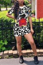 Fashion Leopard Tiger Head Printing Black Dress