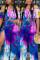 Sexy Fashion Printed Split Leg Pants Blue Set