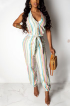 Fashion Casual Striped Print White Jumpsuit