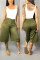 Fashion Casual Loose Army Green Cropped Trousers