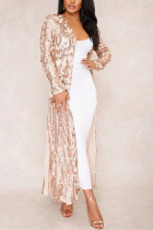 Fashion Sexy Sequins Apricot Cardigan