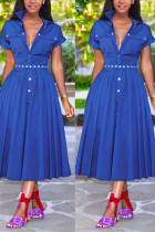 Sexy Fashion Blue Short Sleeve Dress