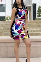 Sexy Printing Sleeveless Top Skirt Multicolor Set