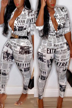 Fashion Casual Newspaper Printing White Shirt Set