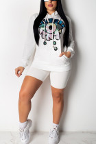 Fashion Sequins Eyes White Casual Suit