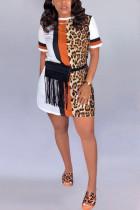 Fashion Printing White Short Sleeve Dress