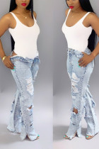 Fashion Front And Rear Shredded Light Blue Jeans