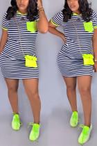 Fashion Casual Striped Printing Green Short Sleeved Dress