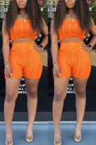 Sexy Fashion Strapless Shorts Orange Sweater Set