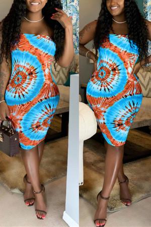 Sexy Fashion Printing Blue Strapless Dress