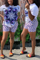 Fashion Sexy Printing Short Sleeve Shorts White Set