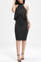 Sexy Sleeveless Ruffled Black Slim Dress