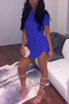 Sexy Fashion Round  Neck Blue Short Sleeve Top