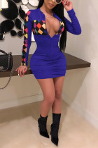 Sexy Fashion Colorful Plaid Printing Blue Slim Dress