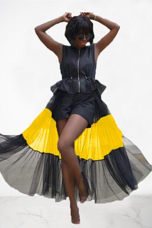 Fashion Mesh Stitching Zipper Sleeveless Black Top