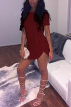 Sexy Fashion Round  Neck Wine Red Short Sleeve Top