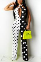 Fashion Sexy Printing White Sleeveless Jumpsuit