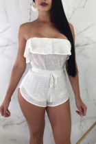 Fashion Sexy Strapless Top Shorts White Suit
