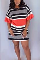 Fashion Irregular Striped Stitching Red Dress