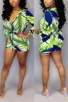 Fashion Casual Zipper Green Printing Romper