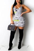 Fashion Sexy Printing White Sling  Dress