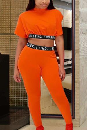 Casual Print Sports Orange Two-Piece Suit