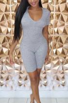 Fashion Casual Gray Short Sleeve Romper