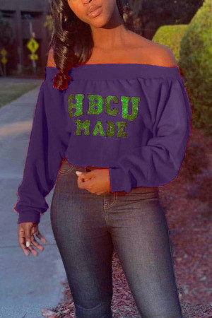 Sexy Letters Off Shoulder Long Sleeve Purple Top