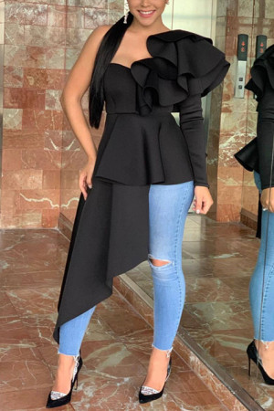 Fashion Sexy Ruffled Black Long Sleeve T-Shirt