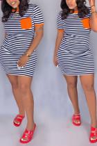 Fashion Casual Striped Printing Orange Short Sleeved Dress