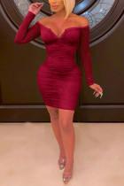 Sexy Mesh Zipper Wine Red Long Sleeve Dress