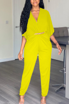 Casual Bat Sleeve Lady Yellow Jumpsuit