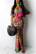 Sexy Printing Leopard Off Shoulder Dress