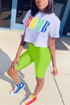 Casual Fashion Colorful Letters Fluorescent Color Two-Piece Set