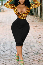 Sexy Leopard Printing Black Long Sleeve Dress