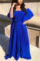 Fashion Sexy Loose Blue Pleated Dress