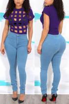 Sexy Fashion Short Sleeve Purple Plaid T-Shirt