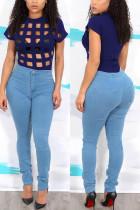 Sexy Fashion Short Sleeve Blue Plaid T-Shirt