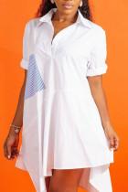 Fashion Casual Minimalist Stitching White Dress