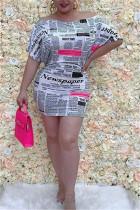 Fashion Sexy Newspaper Printing White Dress