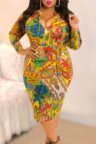 Printed Bag Hip Zipper Front And Rear Yellow Dress