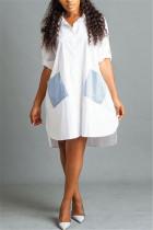 Fashion Slim Splicing Striped White Shirt Dress
