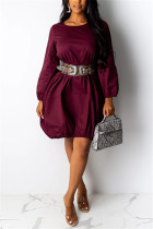 Fashion Casual Wine Red Pullover Dress