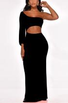 Sexy Solid Color One-Shoulder Black Dress