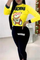 Fashion Leisure Cute Bear Printed Yellow Two pieces