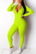 Fashion Casual Long Sleeve Sports Fluorescent Green  Two-Piece Suit