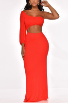 Sexy Solid Color One-Shoulder Red Dress