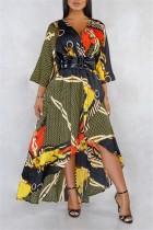 Short Front And Long Satin Printed V-neck Halter Gold Dress