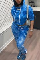 Fashion Leisure Autumn Printed Blue Two Pieces